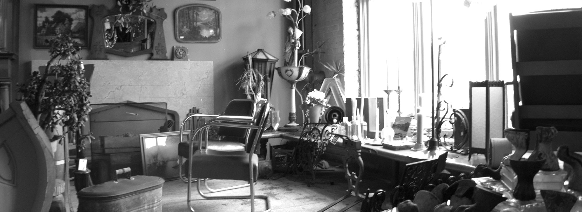 City Salvage showroom interior—various household antiques near a large window on a bright day.